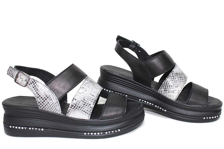 Дамски сандали - естествена кожа - черни - EO-16120
