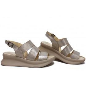 Дамски сандали - естествена кожа - бежови - EO-16121