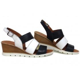 Дамски сандали - естествена кожа - бели - EO-15709