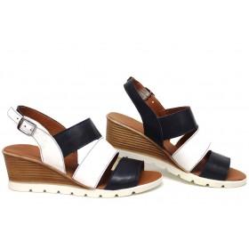 Дамски сандали - естествена кожа - сини - EO-16122