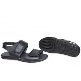 Дамски сандали - естествена кожа - черни - EO-15707