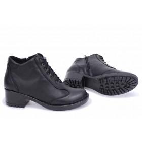 Дамски боти - естествена кожа - черни - EO-16884
