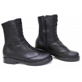 Дамски боти - естествена кожа - черни - EO-16781