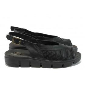 Дамски сандали - естествена кожа - черни - EO-16091