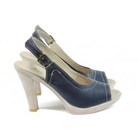 Дамски сандали - естествена кожа - сини - EO-16029