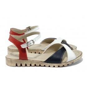 Дамски сандали - естествена кожа - бели - EO-15834