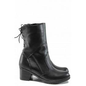 Дамски боти - естествена кожа - черни - EO-16468
