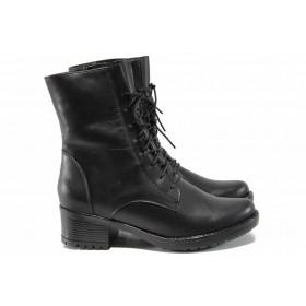 Дамски боти - естествена кожа - черни - EO-16467