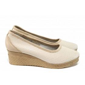 Дамски обувки на платформа - естествена кожа - бежови - EO-16019