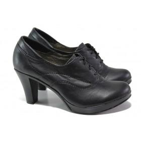 Дамски обувки на висок ток - естествена кожа - черни - EO-16082