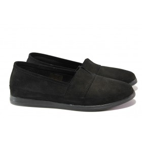 Равни дамски обувки - естествен набук - черни - EO-16076