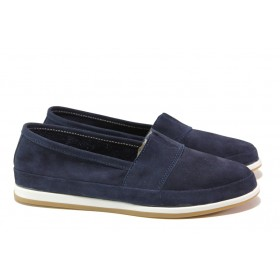 Равни дамски обувки - естествен набук - сини - EO-16075
