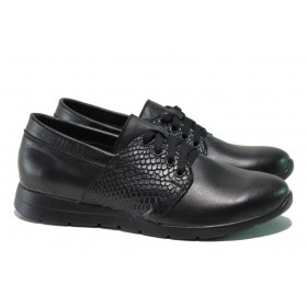 Равни дамски обувки - естествена кожа - черни - EO-16013