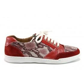 """Дамски спортни обувки - естествена кожа с """"кроко"""" мотив - червени - EO-15091"""