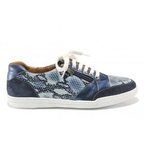"""Дамски спортни обувки - естествена кожа с """"кроко"""" мотив - сини - EO-15090"""