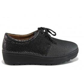 """Дамски обувки на платформа - естествена кожа с """"кроко"""" мотив - черни - EO-15179"""