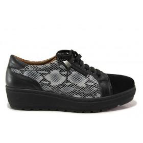 Дамски обувки на платформа - естествена кожа с естествен велур - черни - EO-15200