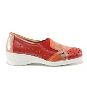 Дамски обувки на платформа - естествена кожа - червени - EO-15102
