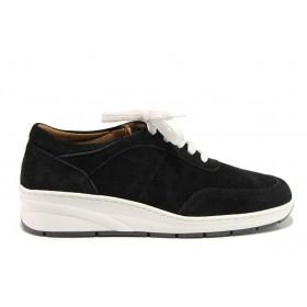 Дамски обувки на платформа - естествен велур - черни - EO-15122