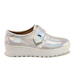 Дамски обувки на платформа - естествена кожа - сребро - EO-15190