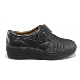 Дамски обувки на платформа - естествена кожа в съчетание с текстил - черни - EO-15185