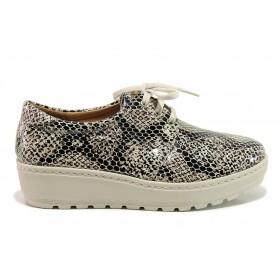Дамски обувки на платформа - естествена кожа - сиви - EO-15178