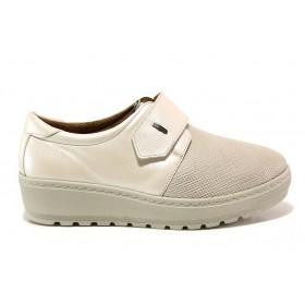 Дамски обувки на платформа - естествена кожа в съчетание с текстил - бежови - EO-15184
