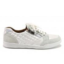 Дамски спортни обувки - естествена кожа с естествен велур - бели - EO-15093