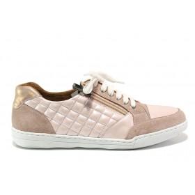 Дамски спортни обувки - естествена кожа с естествен велур - розови - EO-15092