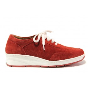 Дамски обувки на платформа - естествен велур - червени - EO-15124