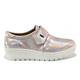 Дамски обувки на платформа - естествена кожа - розови - EO-15189