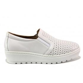 Дамски обувки на платформа - естествена кожа - бели - EO-15197