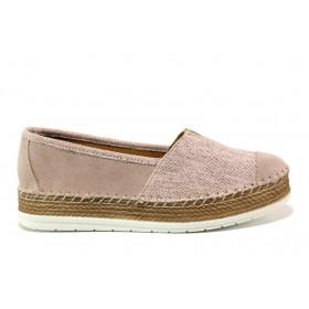Равни дамски обувки - естествен набук - розови - EO-15244
