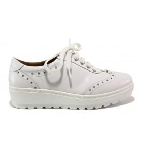 Дамски обувки на платформа - естествена кожа - бели - EO-15192