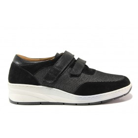 Дамски обувки на платформа - естествена кожа в съчетание с текстил - черни - EO-15116