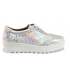 Дамски обувки на платформа - естествена кожа - сребро - EO-15194