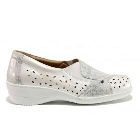 Дамски обувки на платформа - естествена кожа - бели - EO-15104