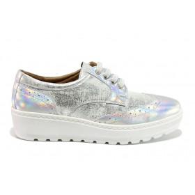 Дамски обувки на платформа - естествена кожа - сребро - EO-15183