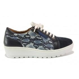 Дамски обувки на платформа - естествена кожа с естествен велур - тъмносин - EO-15201