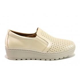 Дамски обувки на платформа - естествена кожа - бежови - EO-15195