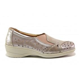 Дамски обувки на платформа - естествена кожа - бежови - EO-15103