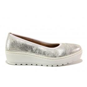 Дамски обувки на платформа - естествена кожа - бели - EO-15211