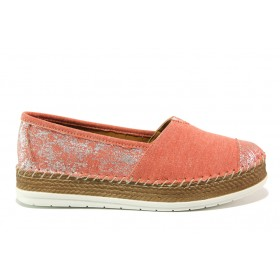 Равни дамски обувки - висококачествен текстилен материал - червени - EO-15253