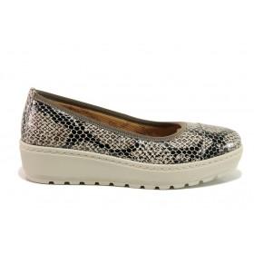 """Дамски обувки на платформа - естествена кожа с """"кроко"""" мотив - бежови - EO-15214"""