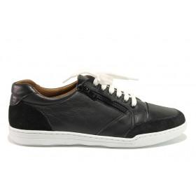 Дамски спортни обувки - естествена кожа с естествен велур - черни - EO-15088