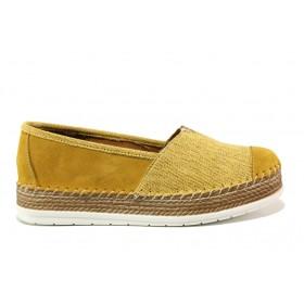 Равни дамски обувки - естествен набук - оранжеви - EO-15247