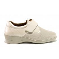 Дамски обувки на платформа - естествена кожа в съчетание с текстил - бежови - EO-15114