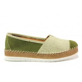 Равни дамски обувки - естествен набук - зелени - EO-15248