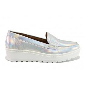 Дамски обувки на платформа - естествена кожа - сребро - EO-15217