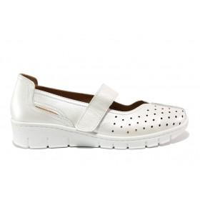 Дамски обувки на платформа - естествена кожа - бели - EO-15108